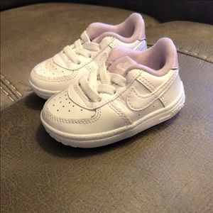NIKE Air Force 1, White and light purple , Size 2